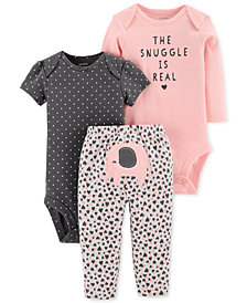 Carter's Baby Girls 3-Pc. Cotton The Snuggle Is Real Bodysuits & Pants Set