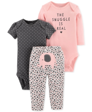 Carters Baby Girls 3Pc Cotton The Snuggle Is Real Bodysuits  Pants Set