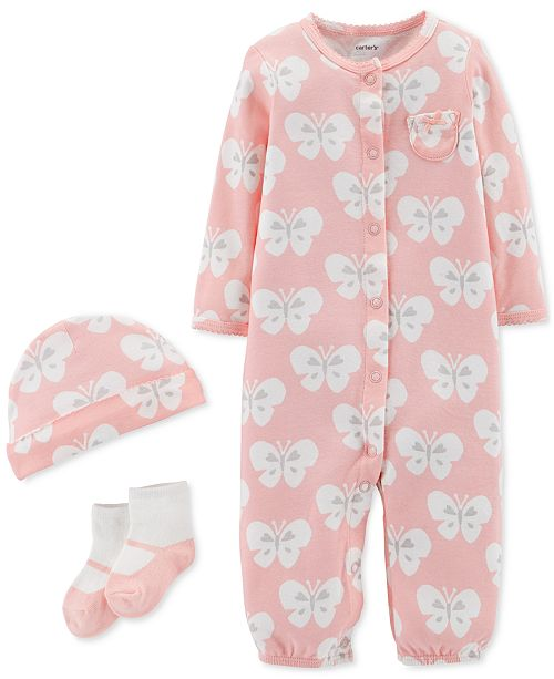 Carter's Baby Girls 3-Pc. Butterfly-Print Cotton Hat, Convertible Coverall & Socks Set