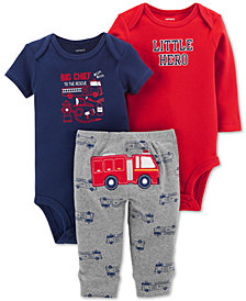 Carter's Baby Boys 3-Pc. Cotton Firetruck Bodysuits & Pants Set