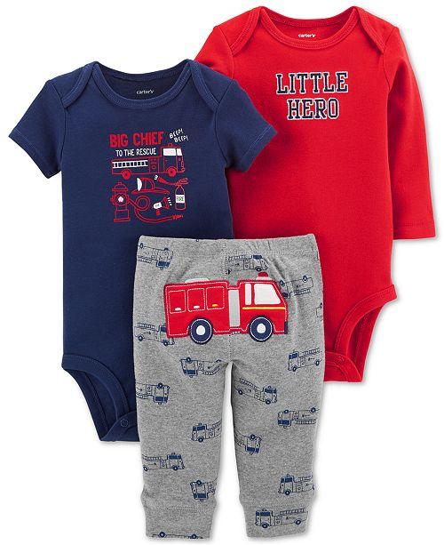 9db04b67bfaa Carter s Baby Boys 3-Pc. Cotton Firetruck Bodysuits   Pants Set ...