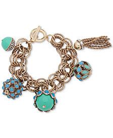 Anne Klein Gold-Tone Pavé, Stone & Chain Tassel Multi-Link Bracelet