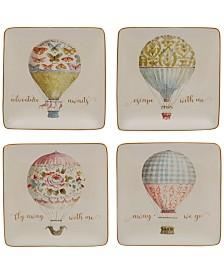 Certified International Beautiful Romance Balloon Canape Plates, Set of 4