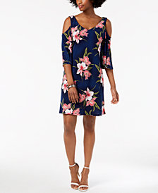 Connected Floral-Print Cold-Shoulder Shift Dress