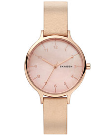 Skagen Women's Anita Nude Leather Strap Watch 36mm