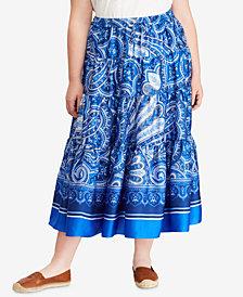Lauren Ralph Lauren Plus Size Paisley-Print Maxiskirt