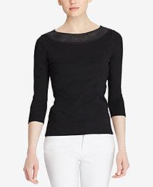 Lauren Ralph Lauren Petite Pointelle-Knit Cotton Top