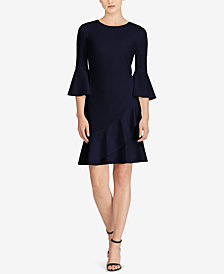 Lauren Ralph Lauren Crepe Bell-Sleeve Dress, Created for Macy's