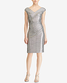 Lauren Ralph Lauren Metallic V-Neck Dress