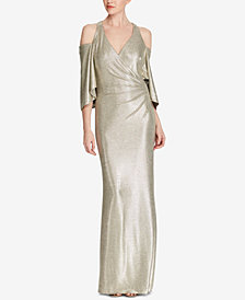 Lauren Ralph Lauren Metallic Cold-Shoulder Gown