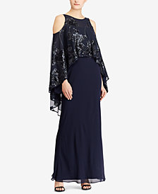 Lauren Ralph Lauren Sequin-Overlay Cold-Shoulder Gown