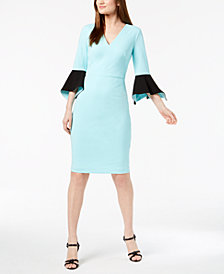 Calvin Klein Colorblocked Bell-Sleeve Dress