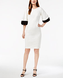 Calvin Klein Colorblocked Puff-Sleeve Sheath Dress
