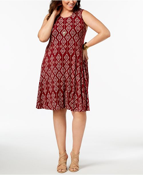 Style Co Plus Size Printed Trapeze Dress Created For Macys