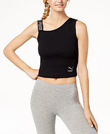 Puma Ribbed Asymmetrical Cropped Tank Top