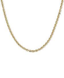 "Italian Gold Rope 18"" Chain Necklace in 14k Gold, Made in Italy"