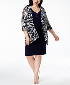 Connected Plus Size Printed Dress & Jacket