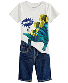 Epic Threads Little Boys Dino-Print Shirt & Denim Shorts Separates, Created for Macy's