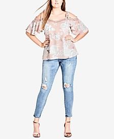 Trendy Plus Size Cold-Shoulder Top