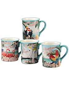 Certified International Paradise, Set of 4 Mugs