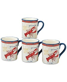 Certified International Coastal Life Lobster Mugs, Set of 4