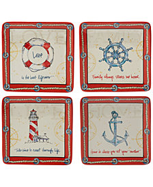 Certified International Coastal Life Dessert Plates, Set of 4