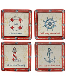 Certified International Coastal Life Dessert Plates, Set of 4