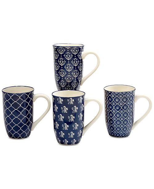 Certified International 4-Pc. Blue Indigo Latte Mugs Set