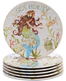 Certified International Sea Beauty Set of 6 Salad Plates
