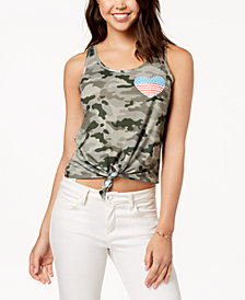 Rebellious One Juniors' Camo-Print Graphic Tank Top