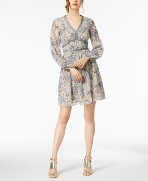 PAISLEY-PRINT A-LINE DRESS
