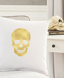 "Cathy's Concepts Gold Metallic-Print Skull 16"" Square Decorative Pillow"