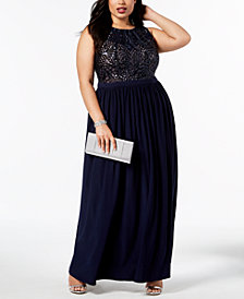 Nightway Plus-Size Sequin-Bodice Gown