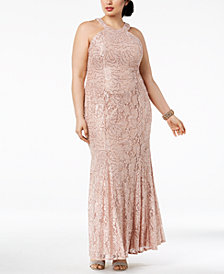 Nightway Plus Size Sequined Lace Gown