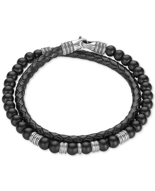 Onyx 6mm Beaded Black Leather Wrap Bracelet In Sterling Silver Created For Macy S