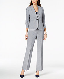 Le Suit Crosshatched One-Button Pantsuit