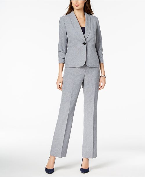 Button Suit Le Navy Pantsuit Multi One Crosshatched H6xx4Z