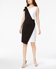 Calvin Klein Colorblocked Asymmetrical Sheath Dress