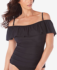 Swim Solutions Off-The-Shoulder Flounce Tankini Top, Created for Macy's