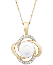 "Cultured Freshwater Pearl (8mm) & Diamond (1/6 ct. t.w.) Openwork Knot 18"" Pendant Necklace in 14k Gold"
