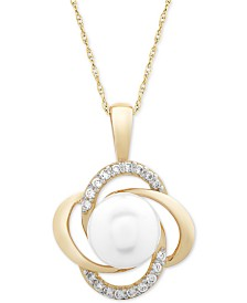 """Cultured Freshwater Pearl (8mm) & Diamond (1/6 ct. t.w.) Openwork Knot 18"""" Pendant Necklace in 14k Gold"""