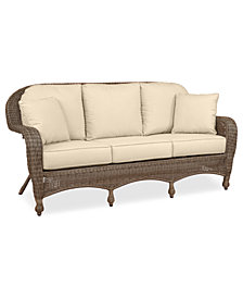 Sandy Cove Wicker Outdoor Sofa: Custom Sunbrella®, Created for Macy's