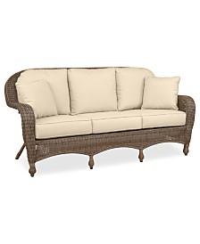 Sandy Cove Wicker Outdoor Sofa: Custom Sunbrella®, Created for Macy's