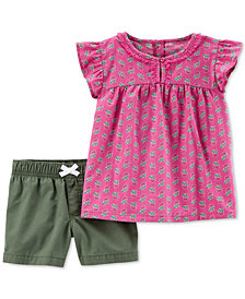 Carter's Toddler Girls 2-Pc. Printed Cotton Top & Shorts Set