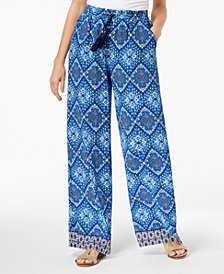 NY Collection Petite Printed Wide-Leg Pants