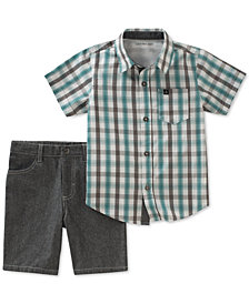 Calvin Klein Little Boys, 2-Pc. Check-Print Cotton Shirt & Shorts Set