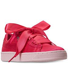 Puma Big Girls' Basket Heart Tween Jr Casual Sneakers from Finish Line