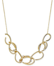 "Danori Gold-Tone Pavé Link Statement Necklace, 16"" + 2"" extender, Created for Macy's"