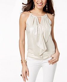 Thalia Sodi Ruffled Keyhole Top, Created for Macy's