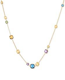 EFFY® Multi-Gemstone Adjustable Statement Necklace (12 ct. t.w.) in 14k Gold
